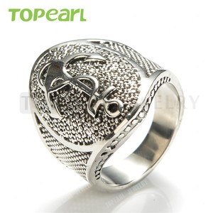 Topearl Jewelry Personalized Men's Anchor Biker Ring Hot Sale Fashion Costume Jewelry Stainless Steel Anchor Ring MER435