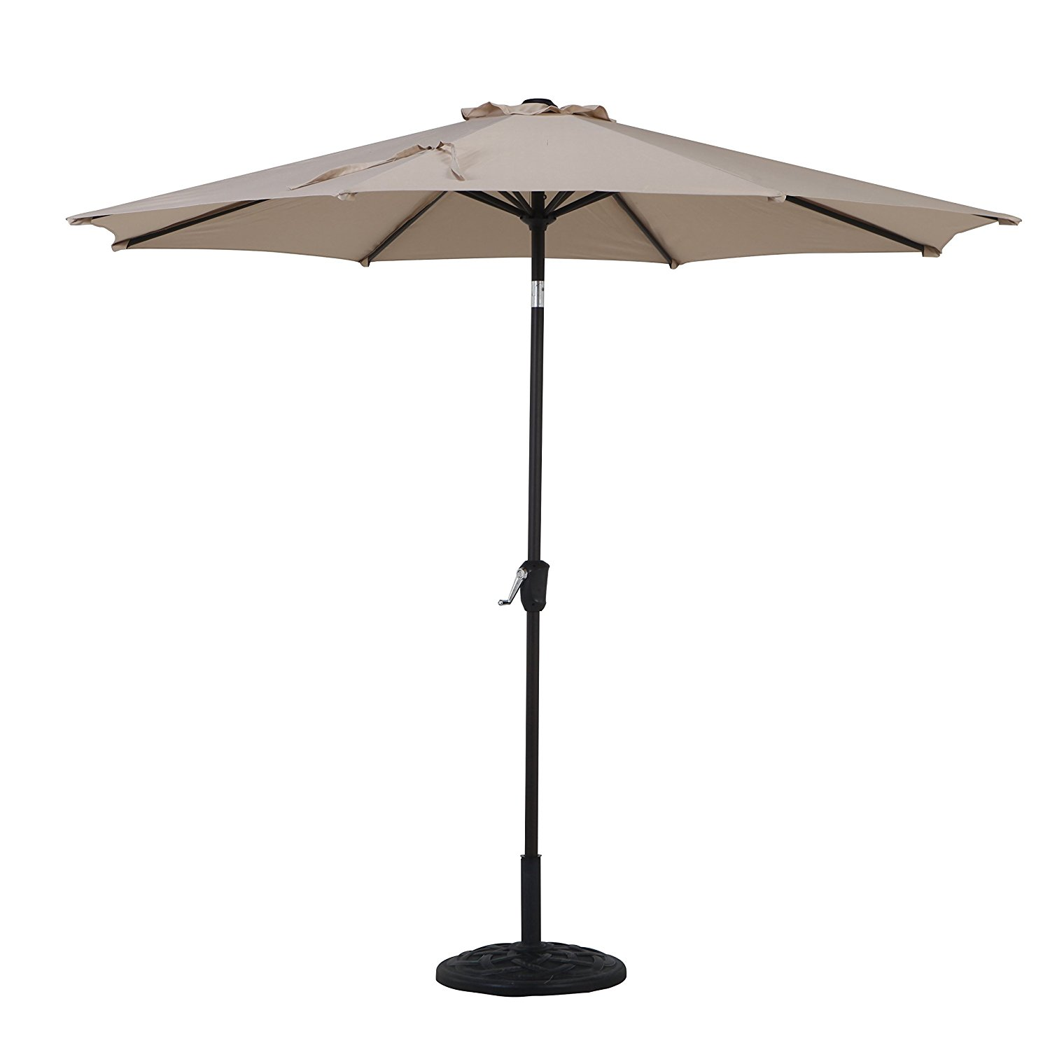 Grand patio 9FT, 8 Ribs Aluminum Patio Umbrella with Auto Crank and Push Button Tilt, UV Protective Beach Umbrella, Powder Coated Outdoor Umbrella, Beige