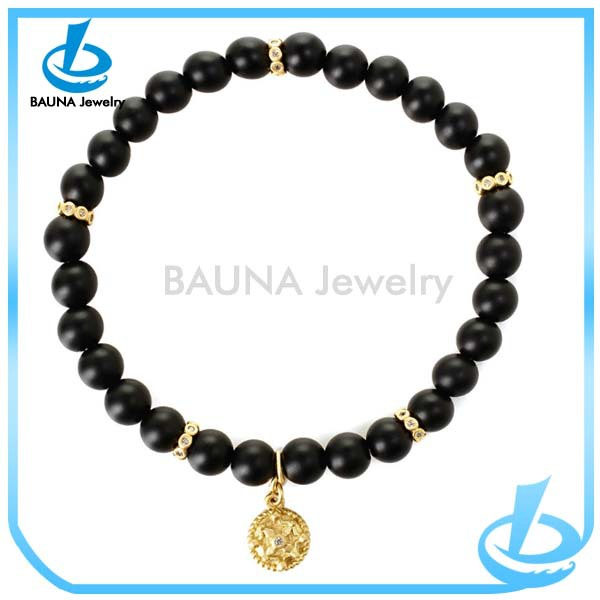 2018 Whole Gold Pendant Black Bead Bracelet Design