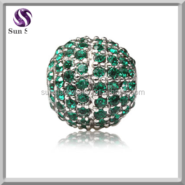 Fashionable 925 Silver jewelry charms round green CZ charm Silver bead fit bracelet or necklace