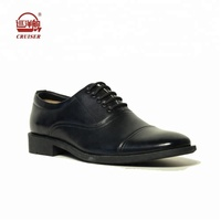 black genuine leather police formal flat men shoes lace up