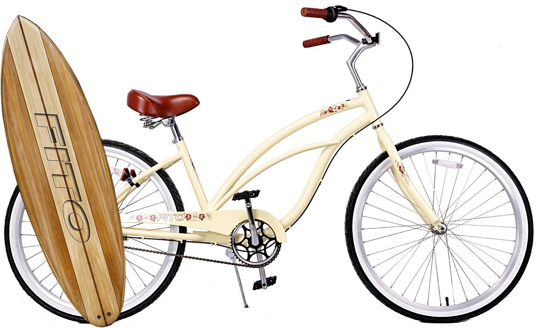 "Anti Rust Light Weight Aluminum Alloy Frame, Fito Marina Alloy 3-speed for women - Vanilla, 26"" wheel Beach Cruiser Bike Bicycle"
