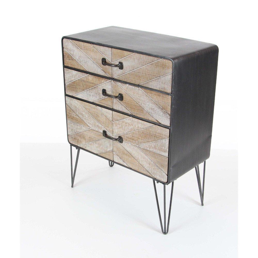 Benzara Cavernous 3 Drawer Metal Wood Cabinet