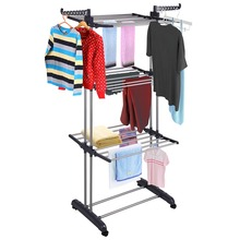 Portable Folding Stainless Steel Clothing Garment Cloth Coat Clothes Drying Rack