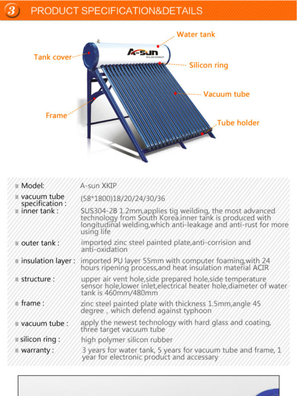 rooftop compact high pressure passive heat pipe solar water heater