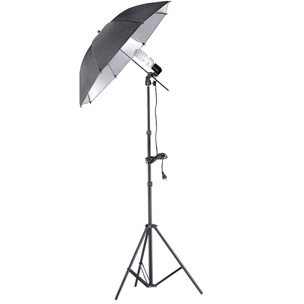 "Neewer® 200W 5500K Continuous Lighting Umbrella Kit for Photo Video Shooting,includes:(1)7ft/200cm Light Stand+(1)Single Head Light Holder+(1)45W Daylight Bulb +(1)33""/84cm Blacl/Silver Umbrella"