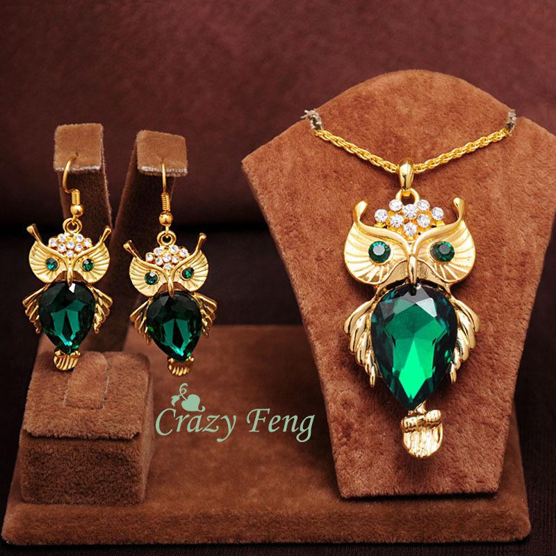 Женщины в 18 k золото заполненные изумруд   белый   синий сапфир  австрийский кристалл сова цепь ожерелье серьги ювелирные комплект 10aaa85c1c2