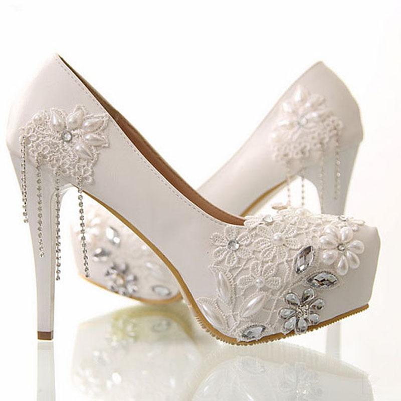 51f5b7dbc46 White wedding heels with rhinestones - photo 18