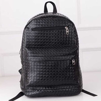 New Girl PU Leather Woven Backpack Black School Book Bag Travel Satchel