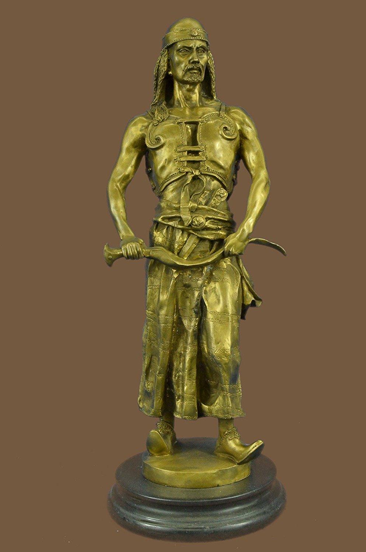 ...Handmade...European Bronze Sculpture Stunning Bergman Hot Painted Austrian Vienna Orientalist Arab With Sword (1X-STE-269C) Bronze Sculpture Statues Figurine Nude Office & Home Décor Collectibles