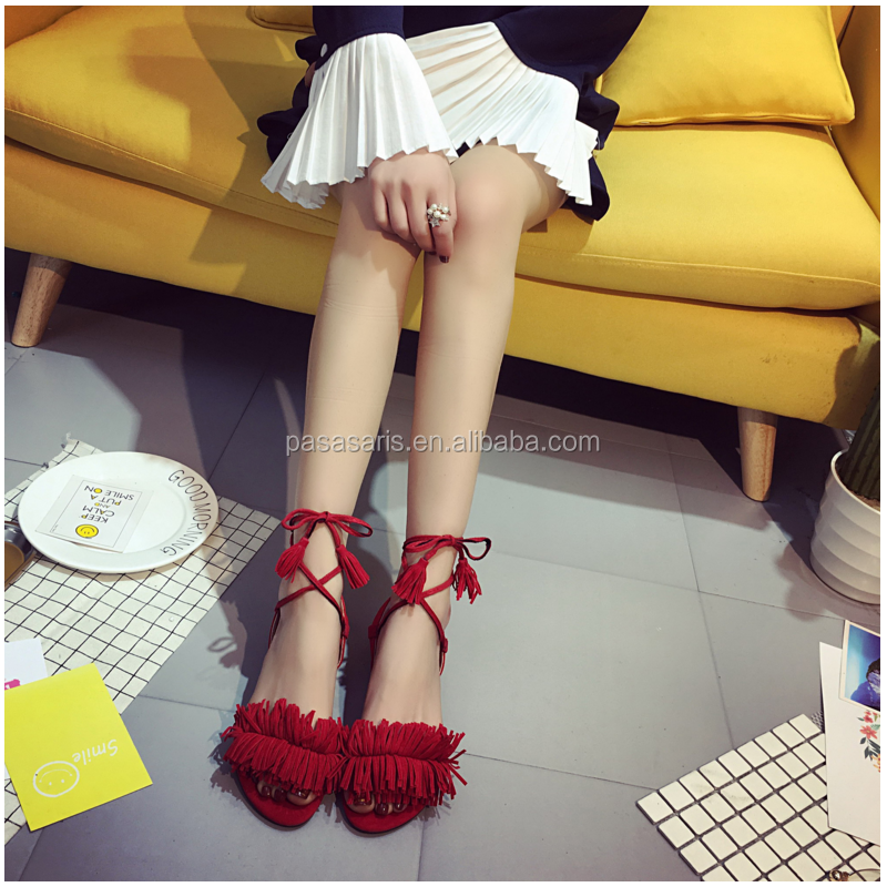 AL2291SW New sweet tassel strappy heels low cut cross buckle shoes woman sandal summer shoes
