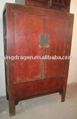 antique Chinese large red distressed wardrobe cabinet