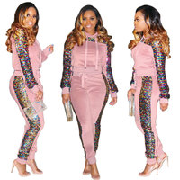 Hot Sale Sexy Fashion Casual Female Long Sleeve Sequin Pants Ladies Women Hoodie Set