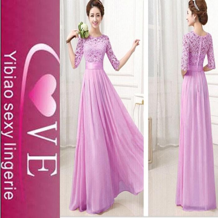 Nuevas llegadas moda color puro vestidos largos para las mujeres ...