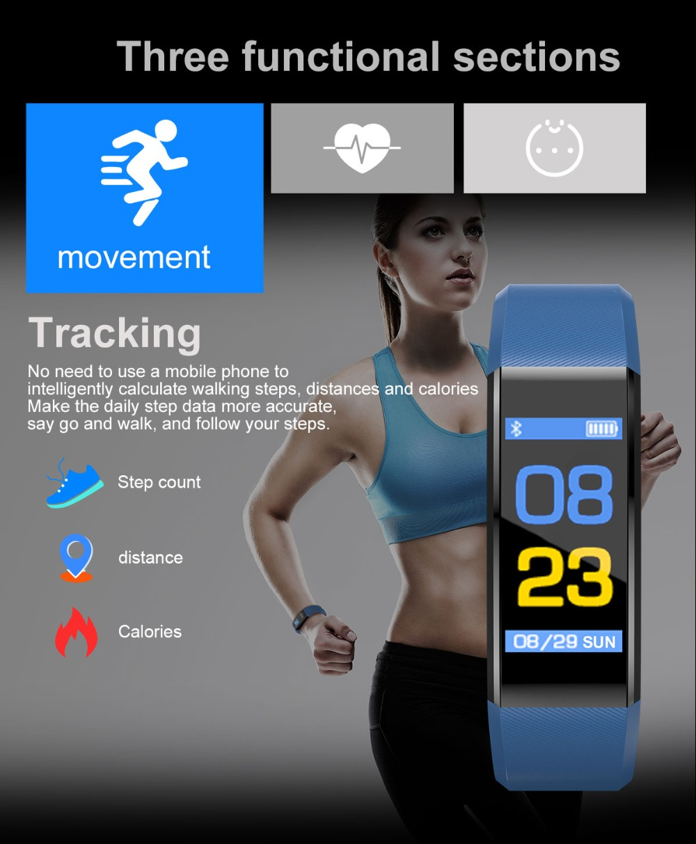 Smart Sport Bracelet Heart Rate Monitor Wristband Fitness Bracelet for Android iOS PK xiomi mi Band 2 fitbits smart