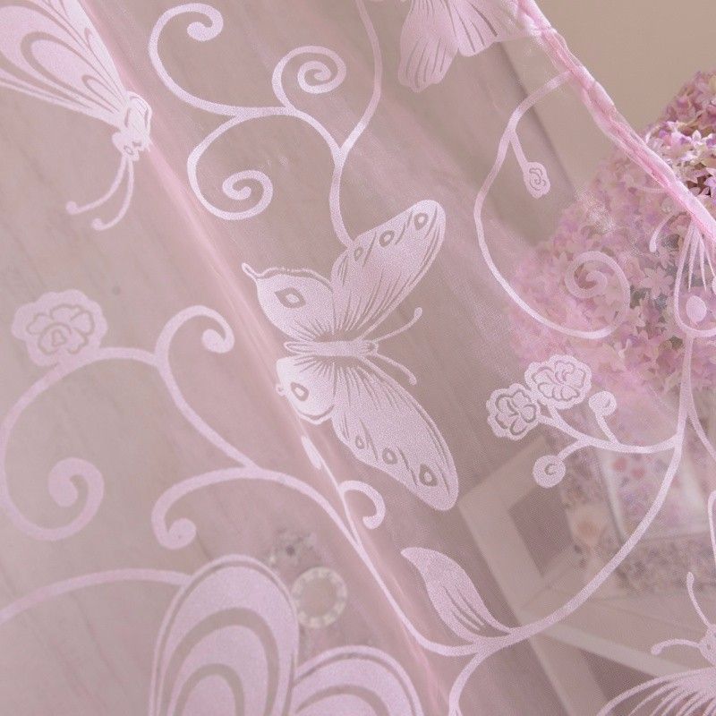 99b980adb736b6 Newest 95 200 CM Romantic Pink Flocking Butterfly Gauze Curtain Screens For  The Living Room - us417