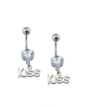 Stainless Steel Belly Button Ring Heart Zircon Kiss Shaped Dangle Belly Ring For Dance Buy Stainless Steel Belly Button Ring Dangle Belly Ring Sexy