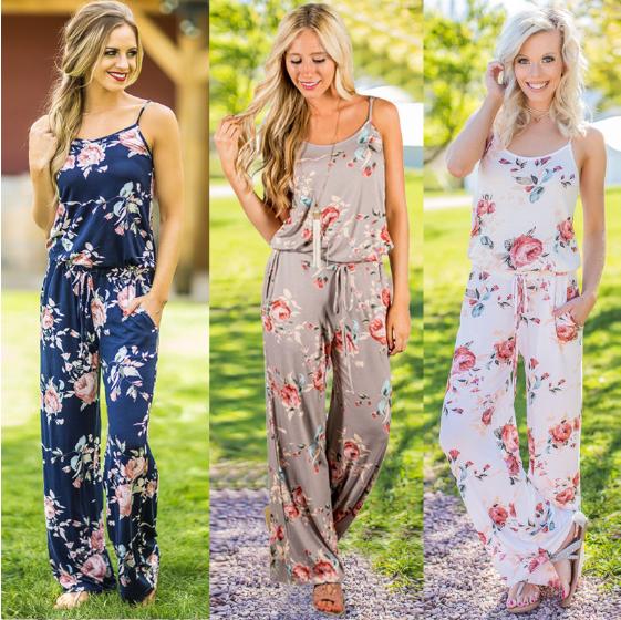 2019 women Super Comfy Floral Jumpsuit Fashion Trend Sling Print Loose Piece Trousers фото