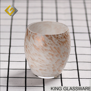 Custom wholesale handmade opal white colored glass gold spot decorative glass 400ml glass tumbler cups