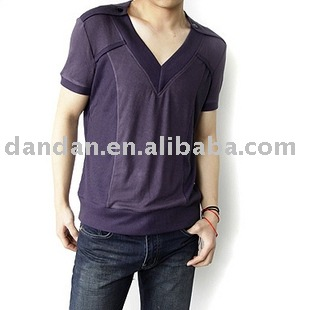 2012 fashion solid cotton v neck t shirts for men