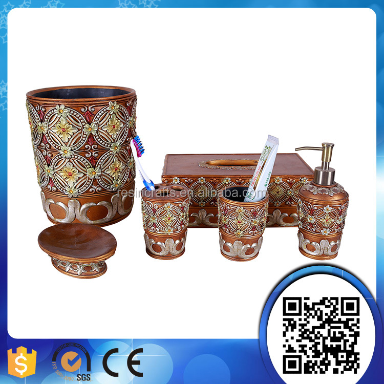 Factory Directly Classical Antique Gold Bathroom Accessories Bath Set