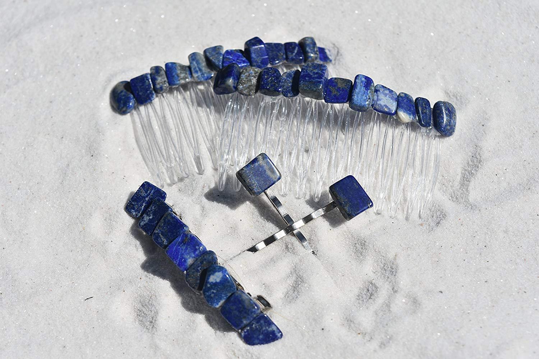 Lapis Lazuli Stone Hair Clip Set - Includes 2 Hair Combs, 1 60 mm French Barrette, 2 Hair Pins