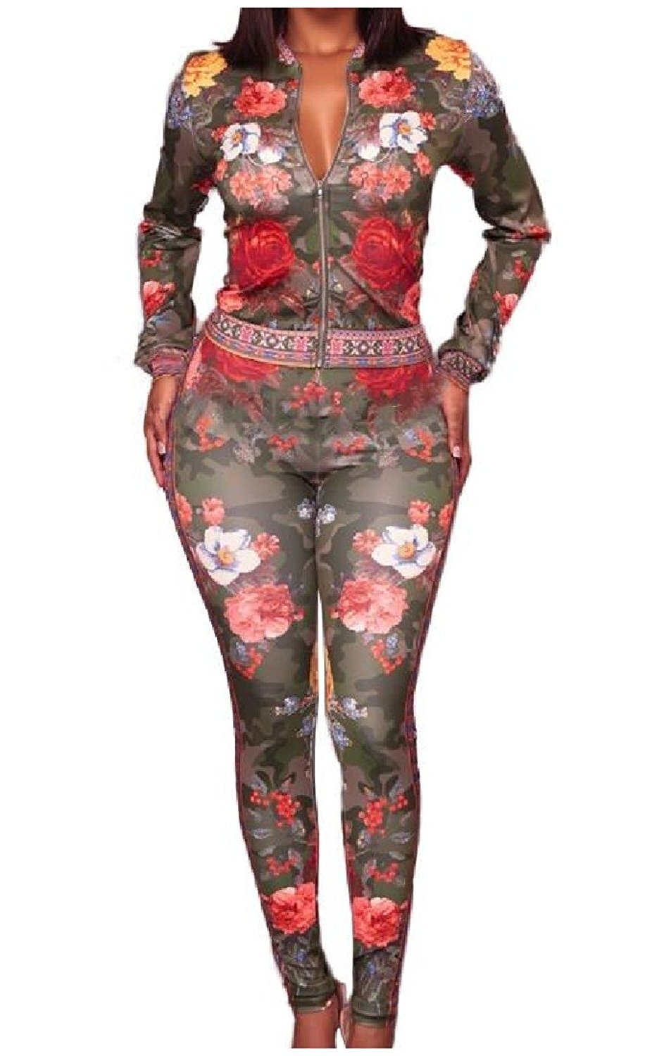 Zimaes-Women Silm Fit Floral Printing Outfit 2-Piece Top Zipper Long-Sleeve Jumpsuit Romper