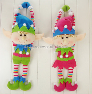 Free sample new christmas plush soft toy hanging doll 2018 custom cute couple plush elf doll christmas toy