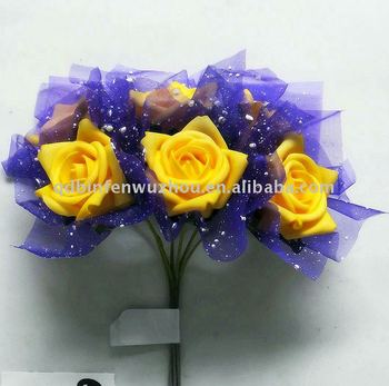 Artificial Yellow Rose Bouquets With Purple Chiffon For Wedding ...