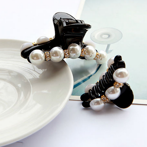 High Quality Fancy Hair Accessory Plastic Claw Hair Jaw Clip Black Korean Pearl Hair Clips