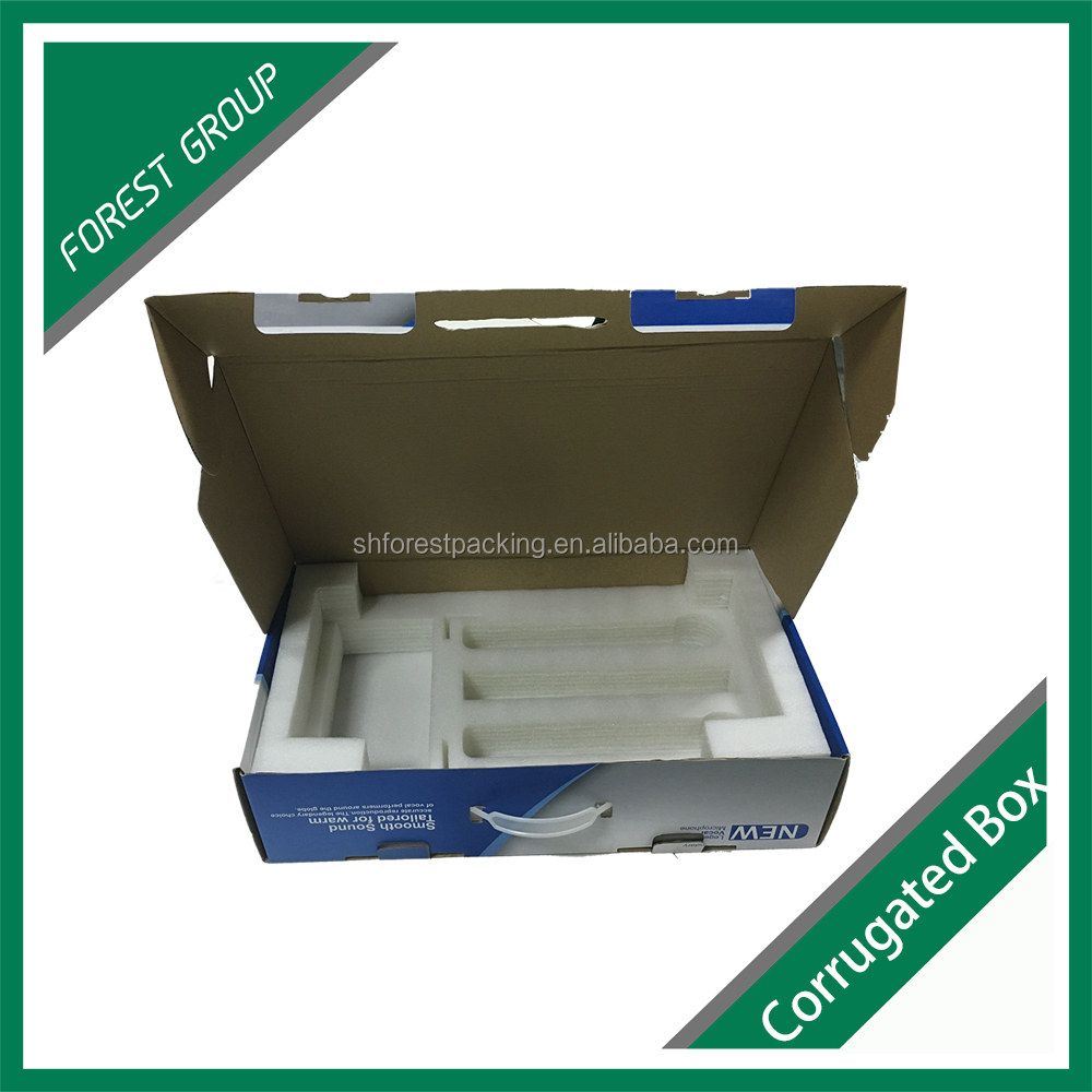 CUSTOM PRINTING CORRUGATED COMPUTER CARTON BOX FOLDING CORRUGATED BOX WITH FOAM INSERTS