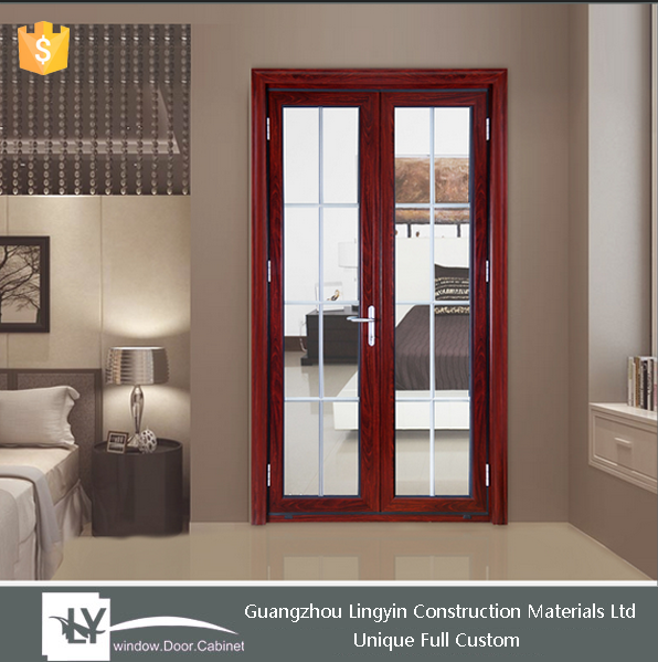 customized size powder coated wooden color aluminum swing door with Hopo hardwares