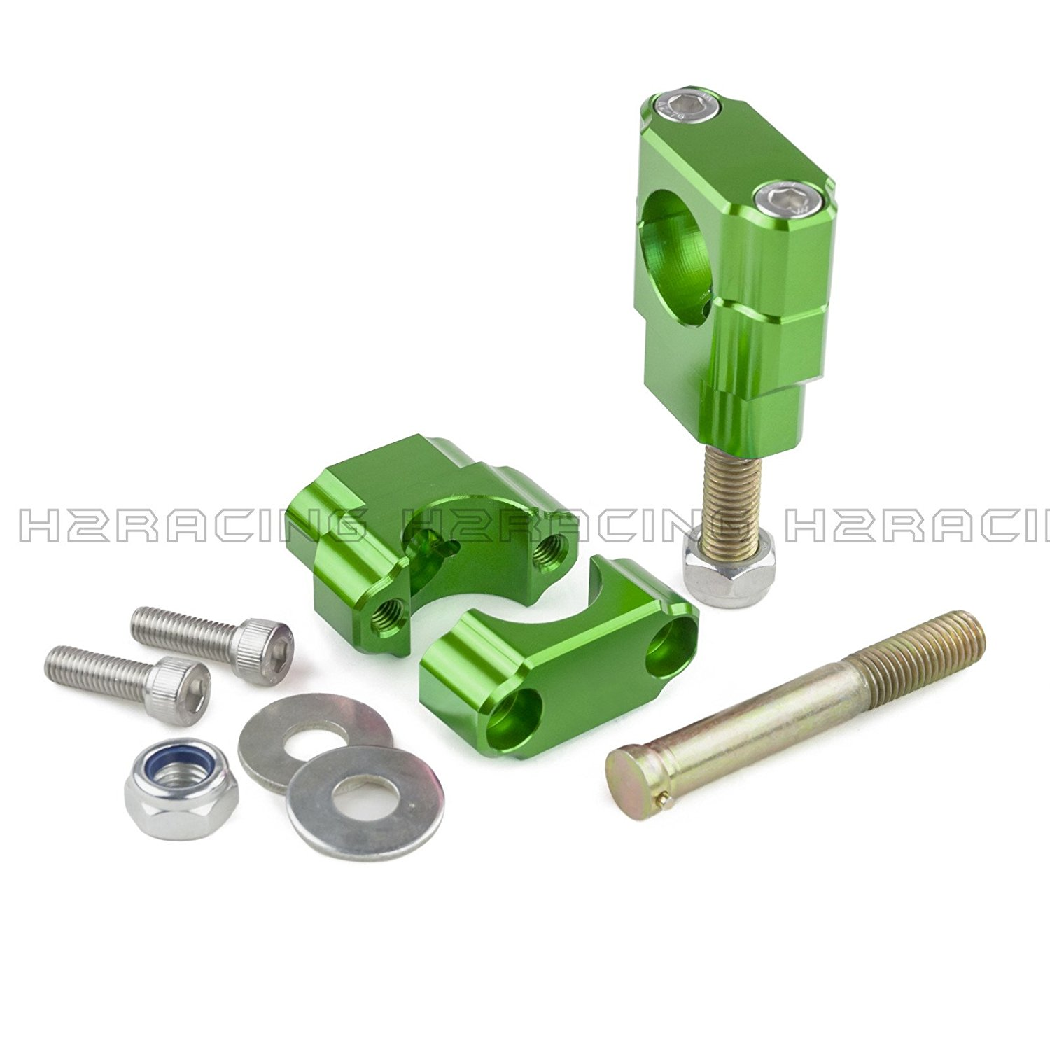 "H2RACING Green 1 1/8"" Bar Mounts Handlebar Riser Clamps for Honda CR125R 2000-2007 CRF250R/X 2004-2015 CRF450R 2002-2015 CRF450X 2005-2015 CR250R 1999-2007 CR500R 1988-2001 Suzuki RMZ250 2004-2006"