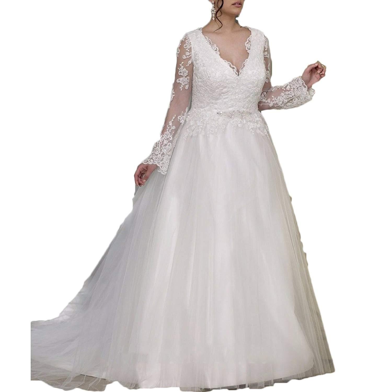 f4b7919551d Get Quotations · Ainisha Women s Long Sleeves Lace Plus Size Wedding Dresses  Lace Beaded A Line Bridal Gowns Plus