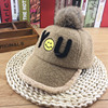 Factory Promotion Winter Children Kids Cotton Fur Pom Lovely Smile Pattern Embroidery Baseball Cap