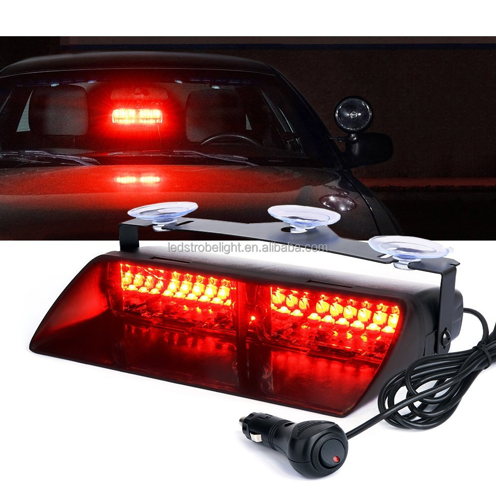 9 Inch 16 Watt LED Emergency Dash Light Bar for Vehicles With 19 Modes Waterproof - Red Interior Flashing Warning Strobe Lights