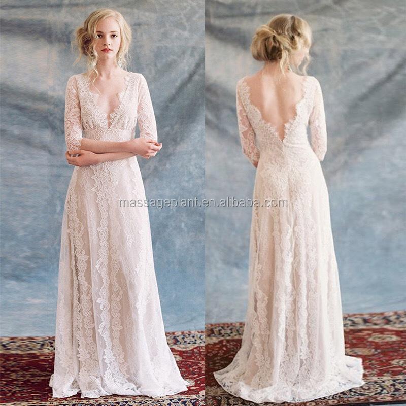 Brautkleid einzigartige brautkleid einfache braut kleid spitze boho ...