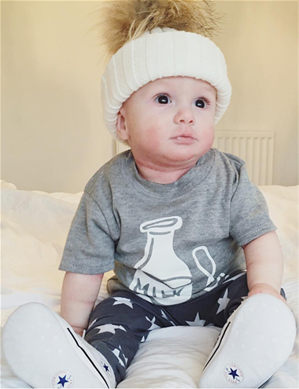 a207a2198 summer baby boy girl clothes newborn fashion milk printed t-shirt+pants