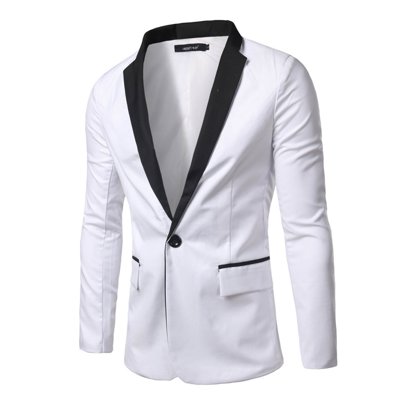 ec59361565 Wholesale- 2016 brand clothing white men blazer casual slim fit long sleeve  single button blazers jacket masculine blazer