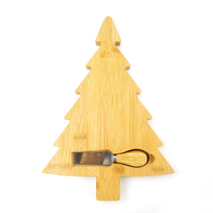 bamboo Christmas tree shape cheese board with Cheese spatula by Bridge
