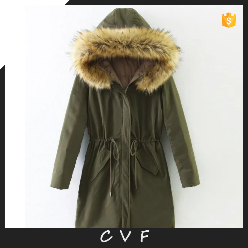 Fashion fur collar down coats double faced hoodie women winter jackets