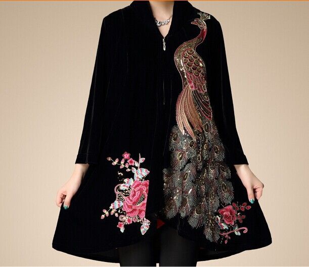 D63106T 2014 autumn and winter new design european style women's Embroidery phoenix dress