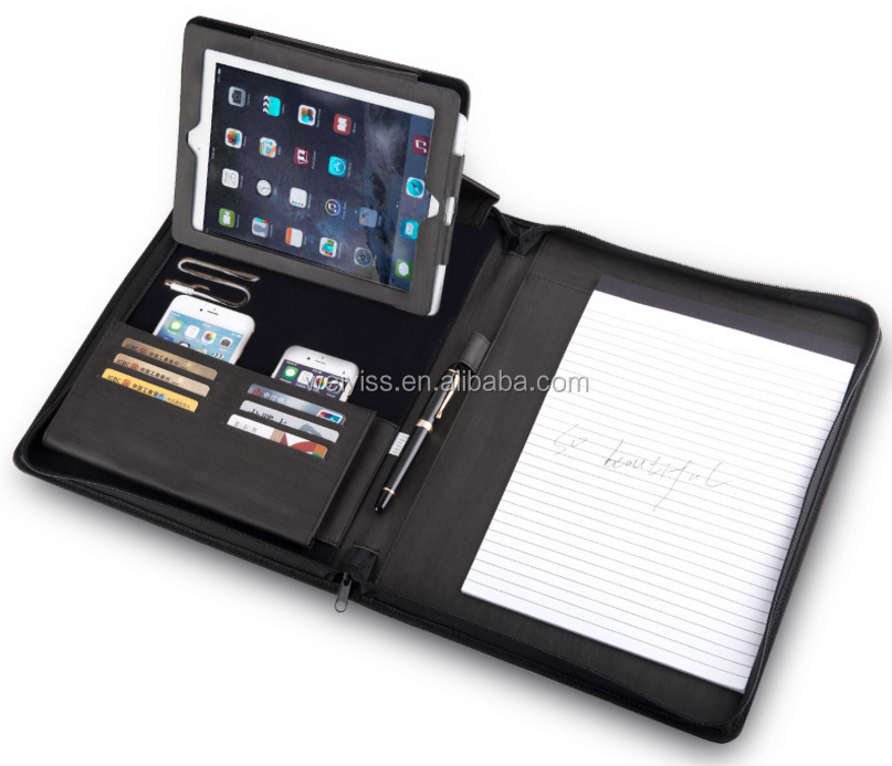 Professional Padfolio With Power Bank Leather Portfolio with Zippered Closure , Tablet Sleeve, Refillable Writing Pad
