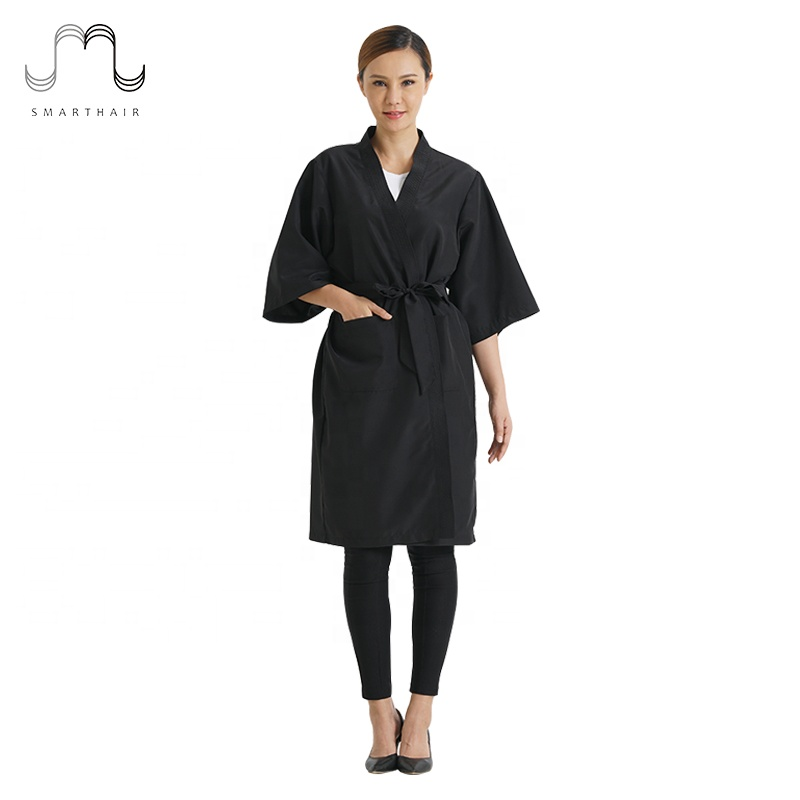 100% Polyester Womens Salon Spa Wrap Client Dressing Gown Robes Kimono Groothandel