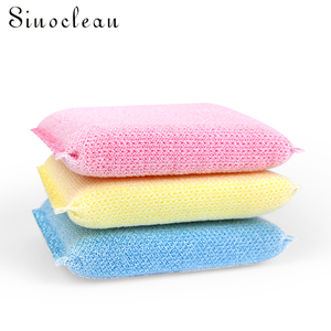 New style kitchen plastic mesh dish washing scrubber sponge 3pcs/set