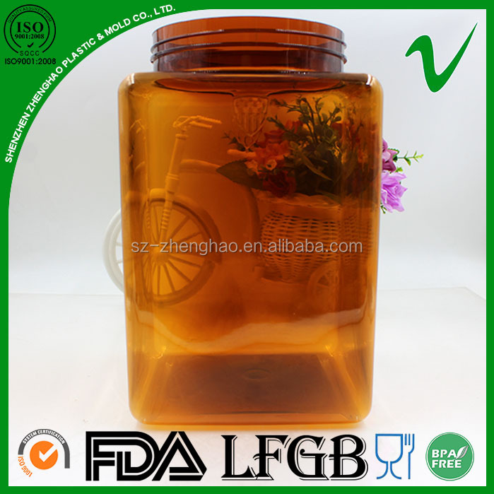 PET high quality reusable BPA free wide mouth empty clear large plastic container round 1 gallon for food storage wholesale