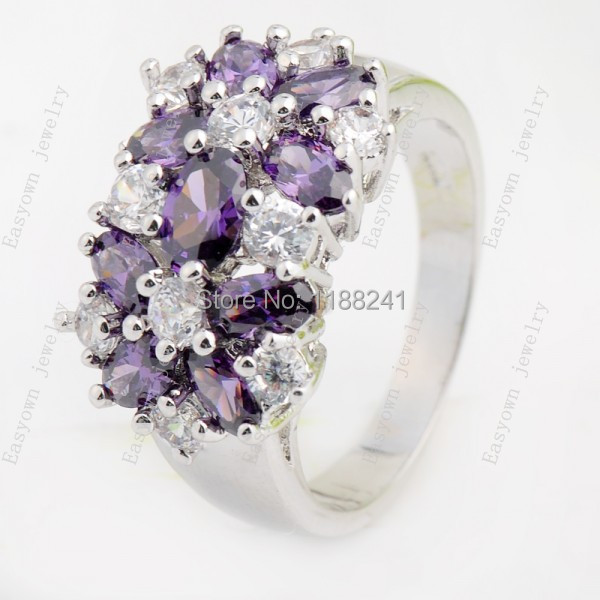 10pcs/lot Size 6 Purple Zircon Fashion Jewelry Finger Ring Women Lady's Big Flower Rings 10KT White Gold Filled Wholesale A0506