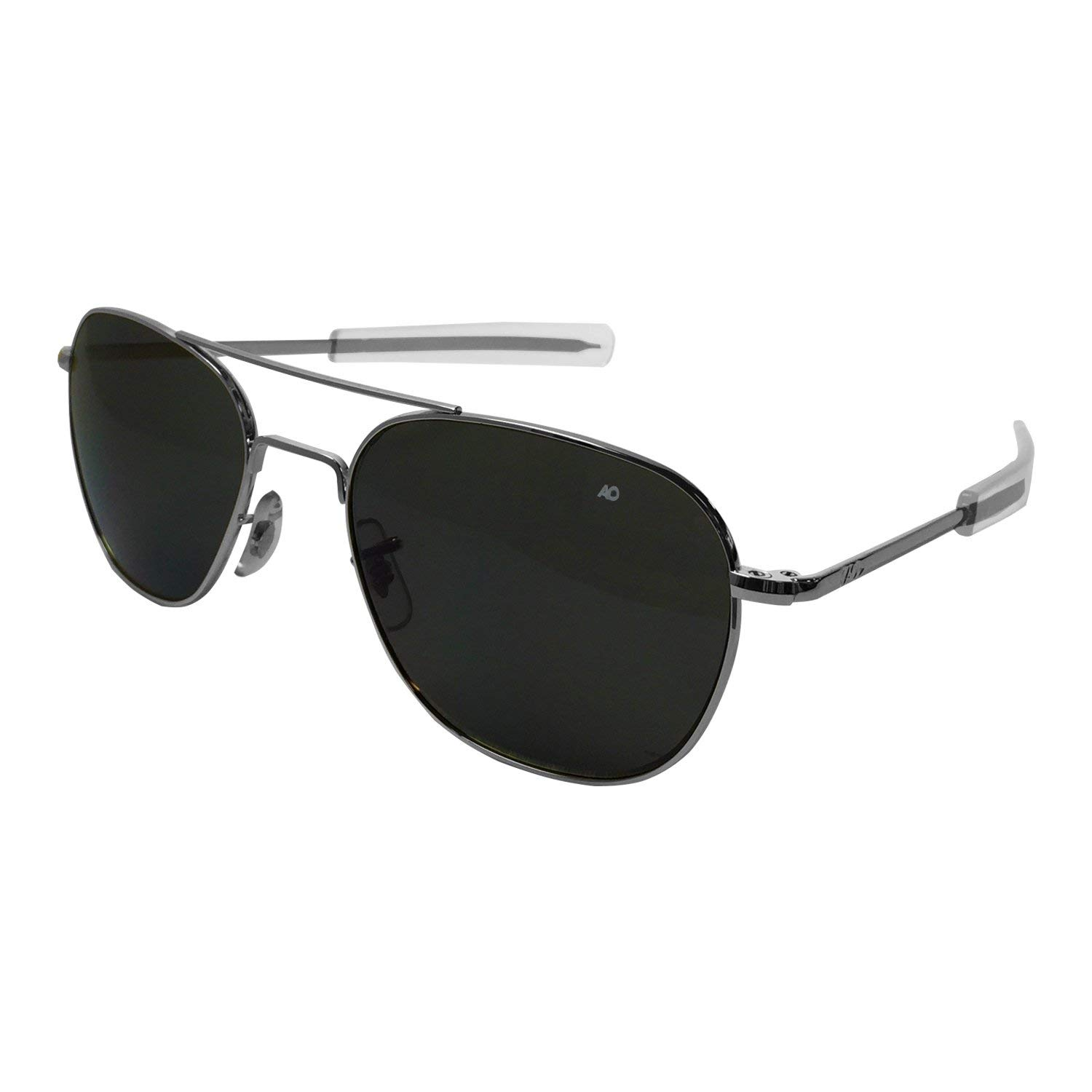 cc00f234528e AO Original Pilot Sunglasses, Bayonet, Silver Frame, True Color Gray Glass  Lens,