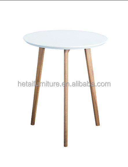 Small 60cm Round MDF Dining Table With Oak Legs, Bright Color Modern Dining  Table With