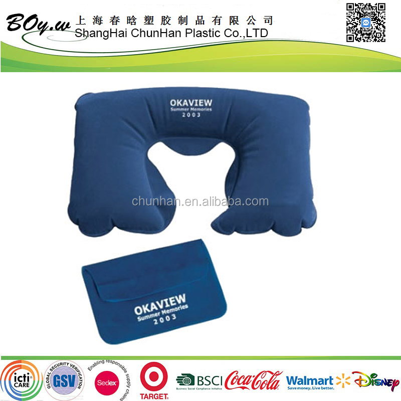 BSCI audit facotry blue bag set camping U shape flocked inflatable neck pillow with logo print